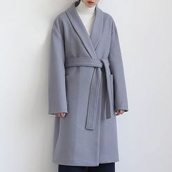 ELLY - Wool Blend Coat with Sash