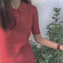 bombee - 短袖針織馬球連衣裙
