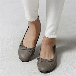 JVLLY - Bow-Front Genuine-Leather Flats