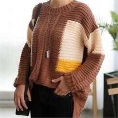 CHICFOX - Color-Block Rib-Knit Sweater