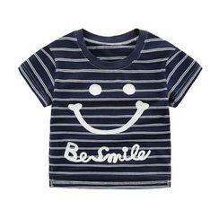 DEARIE - 親子笑臉條紋短袖T恤