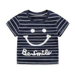 DEARIE - 亲子笑脸条纹短袖T恤