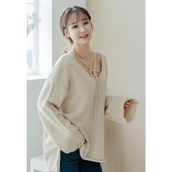 REDOPIN - Ribbon-Trim V-Neck Sweater
