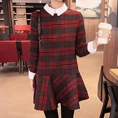 Dowisi - Plaid Collar Dress