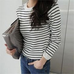 LIPHOP - Wool Blend Round-Neck Stripe Knit Top