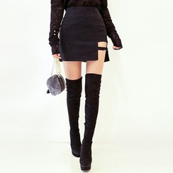 DABAGIRL - Buckled Cutout-Hem Mini Skirt