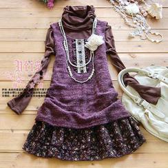 Kaven Dream - Set: Sleeveless Knit Top + Floral-Hem Turtleneck A-Line Dress