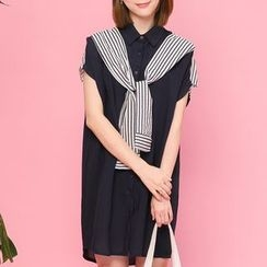 Heynew - Short-Sleeve Tie Neck Shirtdress