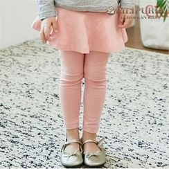 LILIPURRI - Girls Inset Yoke Flare Skirt Leggings