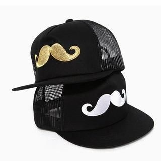 Momiton - Embroidered Moustache Trucker Cap