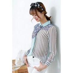 Colorful Shop - Striped Panel Chiffon Shirt