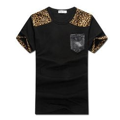 MR.PARK - Leopard-Yoke T-Shirt
