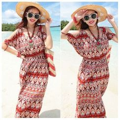 Sunset Hours - Print Cutout Shoulder Maxi Dress