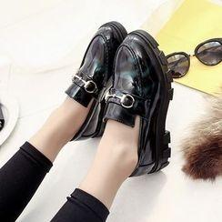 Chryse - 粗跟人造漆皮樂福鞋