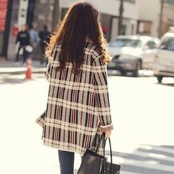 FR - Plaid Open Front Long Cardigan