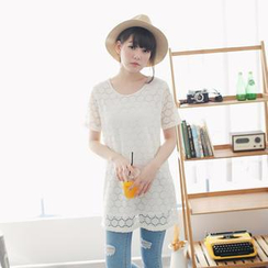 Tokyo Fashion - Short-Sleeve Lace Long Top