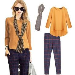 Ashlee - 套裝: 長尾上衣 + 圍巾 + 格子哈倫褲
