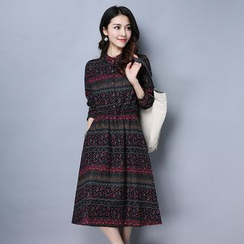 Supernova - Long-Sleeve Patterned A-Line Midi Dress