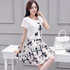lilygirl - Set: Print Short-Sleeve T-Shirt + A-Line Skirt