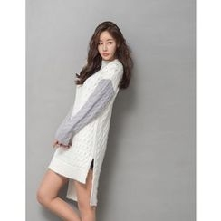 GUMZZI - Color-Block Cable-Knit Sweater Dress