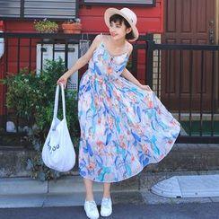 SUYISODA - Floral Print Midi Chiffon Dress