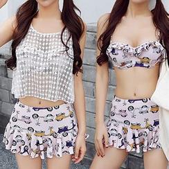 Sweet Splash - 套裝: 汽車印花比基尼上衣 + 泳裙 + 鉤織背心