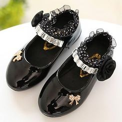 绿豆蛙童鞋 - 小童缀饰漆皮平跟鞋