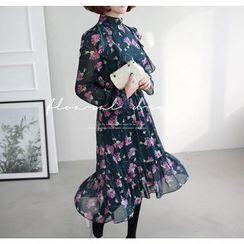 Miamasvin - Gathered-Waist Flower Pattern Chiffon Long Dress