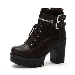 MODELSIS - Lace-Up Platform Ankle Boots
