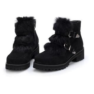 Exull - Buckled Furry Ankle Boots