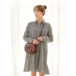 J-ANN - Ruffle-Hem Pocket-Front Gingham Shirtdress