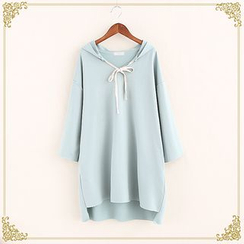 Fairyland - Hooded Long-Sleeve Bow Neck Pullover Dress