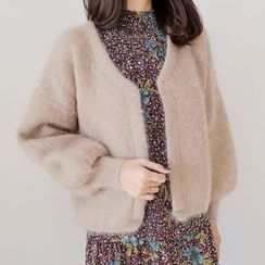 WITH IPUN - Wool Blend Puff-Sleeve Cardigan
