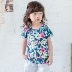 Lemony dudu - Kids Short-Sleeve Floral Print Letter T-shirt