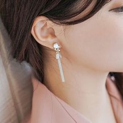 maxine - Faux Pearl Rhinestone Tassel Single Earring