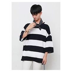 HOTBOOM - Round-Neck 3/4-Sleeve Loose-Fit Rugby-Stripe T-Shirt