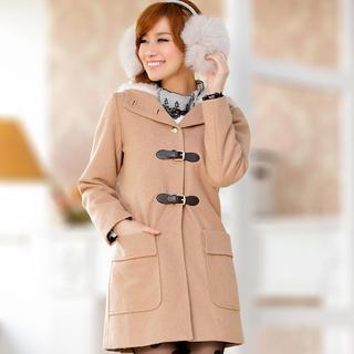JK2 - Furry-Hood Belted Coat