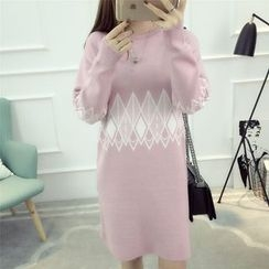 Dream Girl - Patterned Sweater Dress