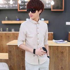 Breeson - Plain Elbow-Sleeve Shirt
