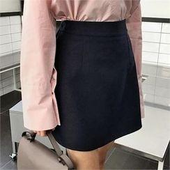 QNIGIRLS - Band-Waist A-Line Mini Skirt