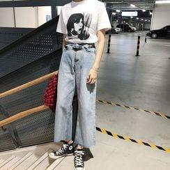 Jeans Kingdom - Washed Wide Leg Jeans