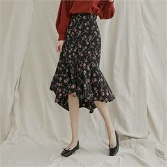 Styleberry - Ruffle-Hem Floral Print Midi Skirt