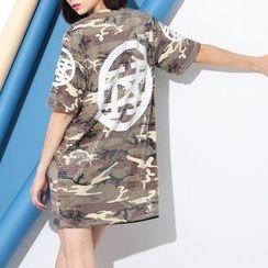 Ultra Modern - Sequined Camo Elbow Sleeve T-Shirt Dress