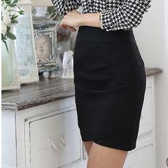 Caroe - Houndstooth Tie-Neck Chiffon Blouse / Pencil Skirt