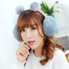 Reyna - Pom Pom Faux Fur Ear Warmers