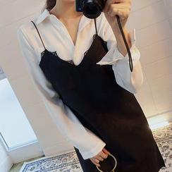 chuu - Spaghetti-Strap Lace-Trim Mini Shift Dress