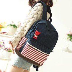 Canvas Love - Bear Applique Striped Dotted Canvas Backpack