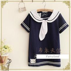 Fairyland - Short-Sleeve Sailor Collar Embroidered Top