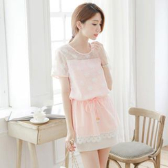 Tokyo Fashion - Short-Sleeve Tulle-Panel Drawstring-Waist Top