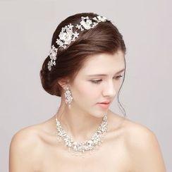 Puru Lia - Bridal Set: Rhinestone Hair Band + Necklace + Earrings